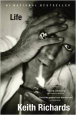 Keith Richards, b&w, with cigarette and skull-ring